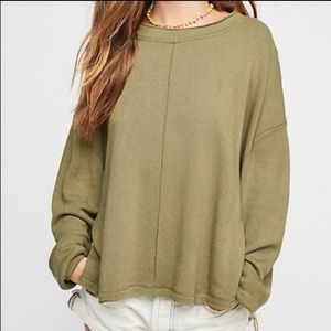 Free People Be Good Terry Green Pullover Sweater